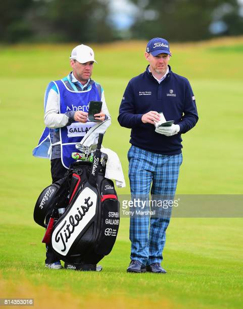 Stephen Gallacher of Scotland wearing Tartan trousers prepares for his second shot on the 9th fairway during Day Two of the AAM Scottish Open at...