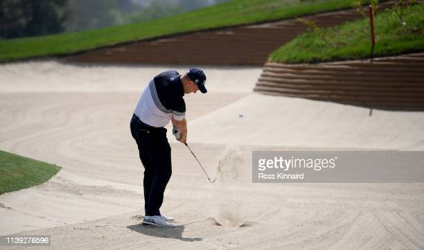 Stephen Gallacher on the pat four 4th hole during the third round of the Hero Indian Open at the DLF Golf & Country Club on March 30, 2019 in New...