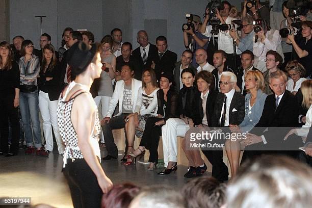 Stephen Gan Karine Roitfeld Amanda Harlech L'Wren Scott musician Mick Jagger designer Karl Lagerfeld and Bernard Arnault CEO and President of Dior's...