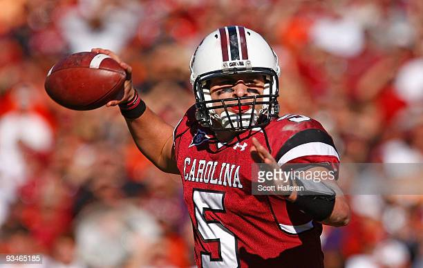 Stephen Garcia of the South Carolina Gamecocks drops back to pass against the Clemson Tigers at WilliamsBrice Stadium on November 28 2009 in Columbia...