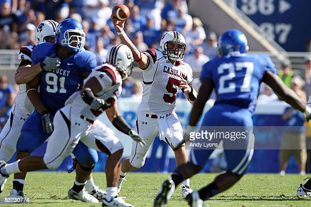 Stephen Garcia of the South Carolina Gamecocks throws a pass against the Kentucky Widcats during the game at Commonwealth Stadium on October 11 2008...