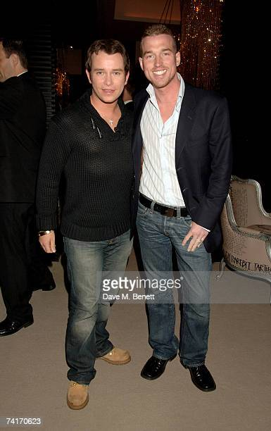Stephen Gately and Andrew Cowles attend a private dinner celebrating the opening of Gary Rhodes new restaurant Rhodes W1 at Rhodes W1 on May 16 2007...
