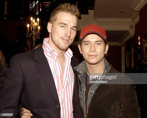 Stephen Gately and boyfriend Andy Cowles attend the Boyzone Reunion at Palmerstown stud golf club April 20 2004 in Dublin Ireland The boys met up at...