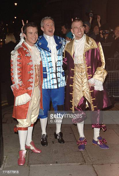 Stephen Gately Louis Walsh and Andrew Cowles during Matt Lucas Kevin McGee Civil Partnership Reception in London Great Britain