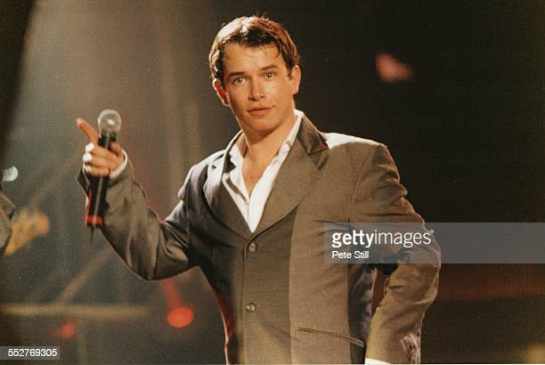 Stephen Gately of Boyzone performs on stage at the National Exhibition Centre on May 27th 1999 in Birmingham England