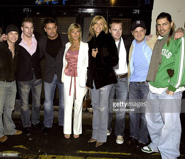 Stephen Gately with his partner Andrew Cowles Keith Duffy Lisa Duffy Yvonne Keating Ronan Keating Mikey Graham and Shane Lynch