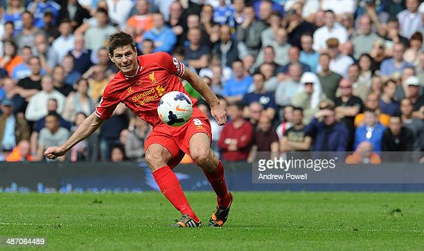 Stephen Gerrard of Liverpool in action during the Barclays Premier League match between Liverpool and Chelsea at Anfield on April 27 2014 in...