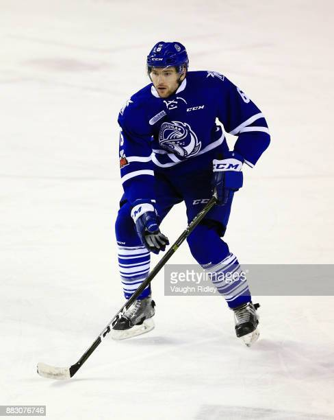 Stephen Gibson of the Mississauga Steelheads skates during an OHL game against the Niagara IceDogs at the Meridian Centre on November 25 2017 in St...