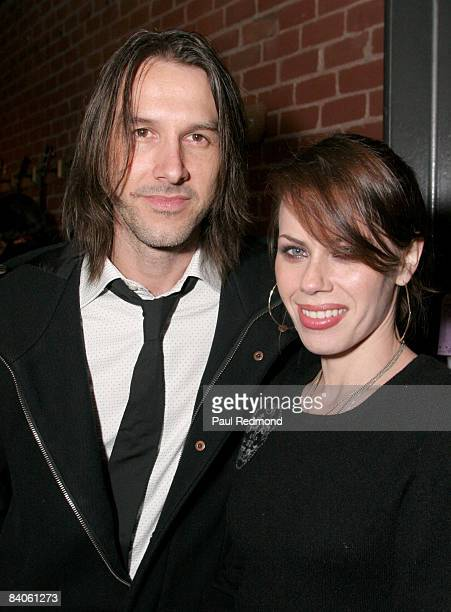 Stephen Gilmour and actress Fairuza Balk attend the Gibson Guitar 'Dark Fire' Launch Party at the Gibson Beverly Hills Showroom on December 15 2008...