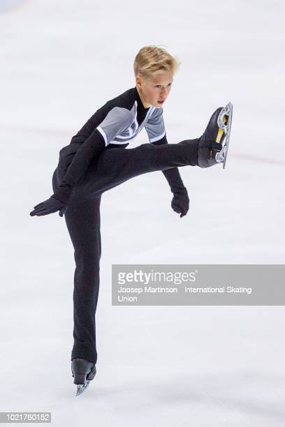 Stephen Gogolev of Canada competes in the Junior Men short program during the ISU Junior Grand Prix of Figure Skating at Ondrej Nepela Arena on...