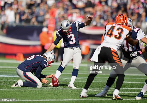 Stephen Gostkowski kicks a field goal during the first quarter of the game againt the Cincinnati Bengals at Gillette Stadium on October 16 2016 in...