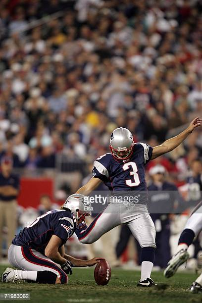 Stephen Gostkowski of the New England Patriots attempts a field goal as Josh Miller holds against the Denver Broncos on September 24 2006 at Gillette...
