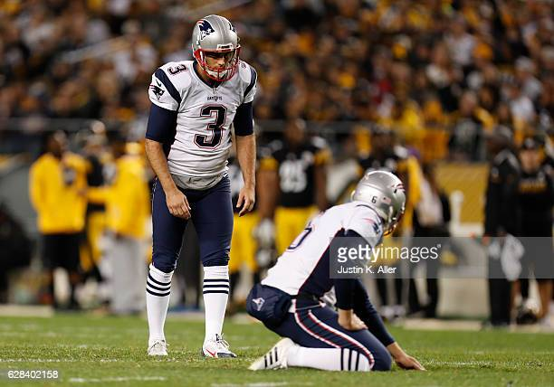 Stephen Gostkowski of the New England Patriots in action against the Pittsburgh Steelers at Heinz Field on October 23 2016 in Pittsburgh Pennsylvania