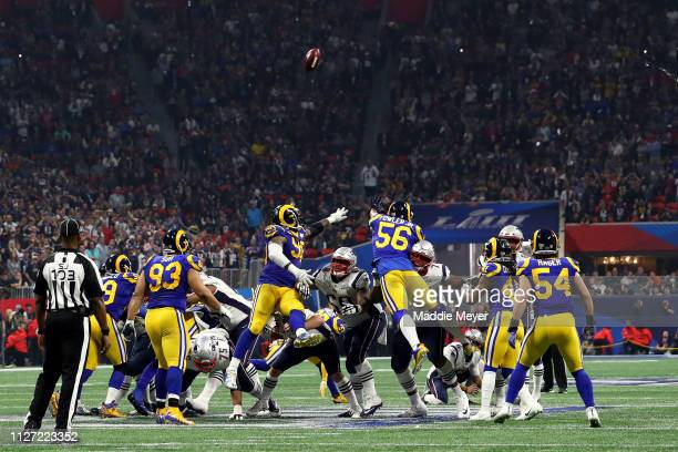 Stephen Gostkowski of the New England Patriots kick a fourth quarter field goal against the during Super Bowl LIII at Mercedes-Benz Stadium on...