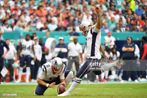 Stephen Gostkowski of the New England Patriots kicks the field goal during the second half against the Miami Dolphins at Hard Rock Stadium on...
