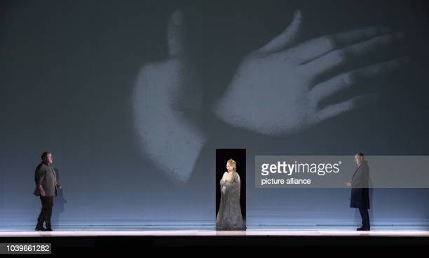 Stephen Gould , Dorothea Roeschmann and Andrzej Dobber perform during a photo rehearsal of the opera 'Otello' by Guiseppe Verdi at the Semper Opera...