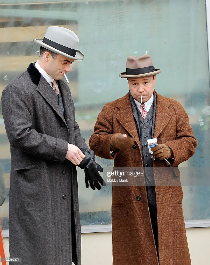 Stephen Graham as 'Al Capone' and Morgan Spector filming on location for 'Boardwalk Empire' on February 22, 2013 in the Staten Island borough of New York City.