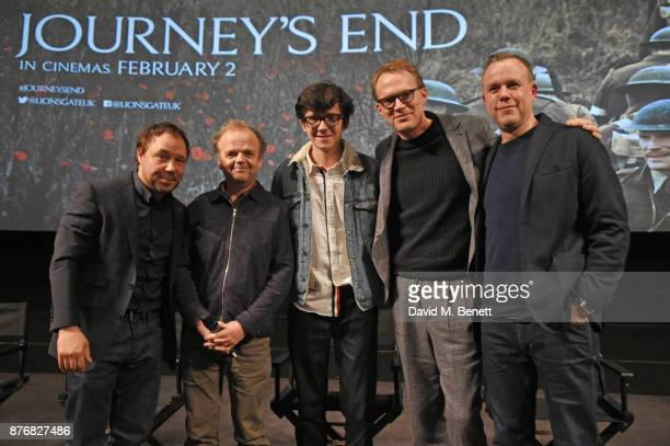 Stephen Graham Toby Jones Asa Butterfield Paul Bettany and director Saul Dibb pose on stage during a QA following the special screening of 'Journey's...