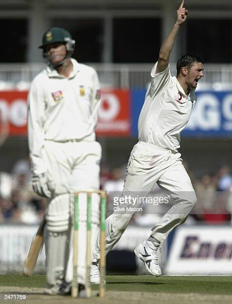 Stephen Harmison of England celebrates taking the wicket of Shaun Pollock of South Africa after he was caught out by Graham Thorpe of England for...
