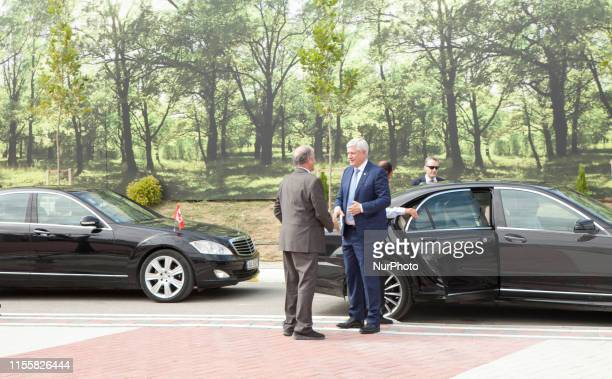 Stephen Harper in Duress Albania on 12 July 2019 Politicians from more than 40 countries arrives at the Iranian Opposition MEK Headquarters on July...
