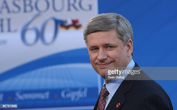 Stephen Harper, Prime Minister of Canada, arrives at the opening of the NATO summit at the Kurhaus on April 3, 2009 in Baden Baden, Germany. Heads of...