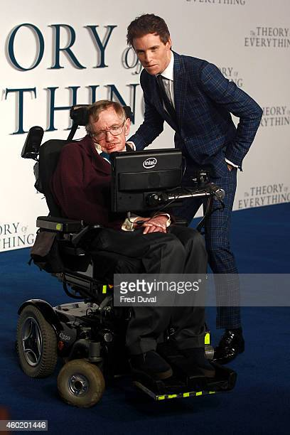 Stephen Hawking and Eddie Redmayne attend the UK Premiere of The Theory Of Everything at Odeon Leicester Square on December 9 2014 in London England