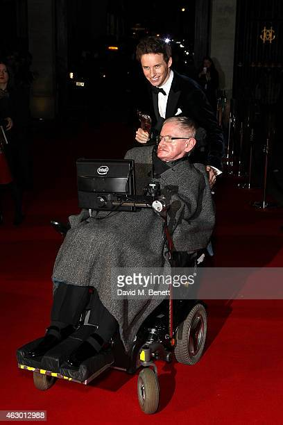 Stephen Hawking and Eddie Redmayne attends the after party for the EE British Academy Film Awards at The Grosvenor House Hotel on February 8 2015 in...