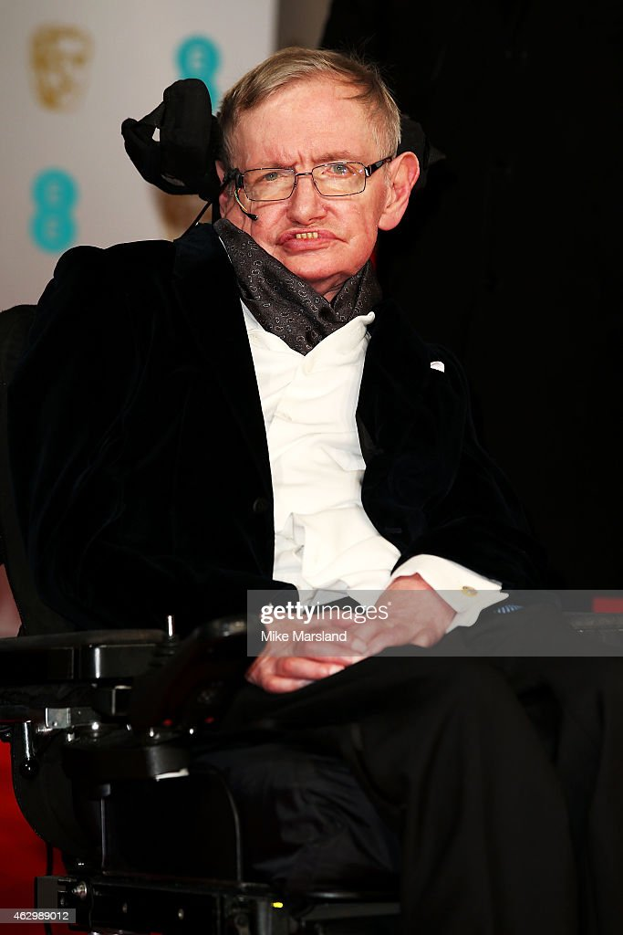 Stephen Hawking attends the EE British Academy Film Awards at The Royal Opera House on February 8, 2015 in London, England.