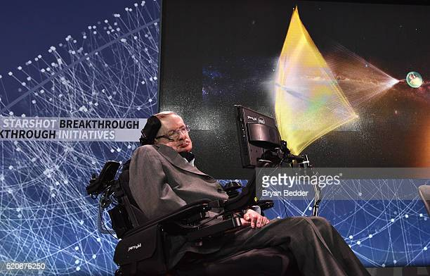 Stephen Hawking CH CBE FRS Dennis Stanton Avery and Sally Tsui WongAvery Director of Research University of Cambridge on stage as he and Yuri Milner...