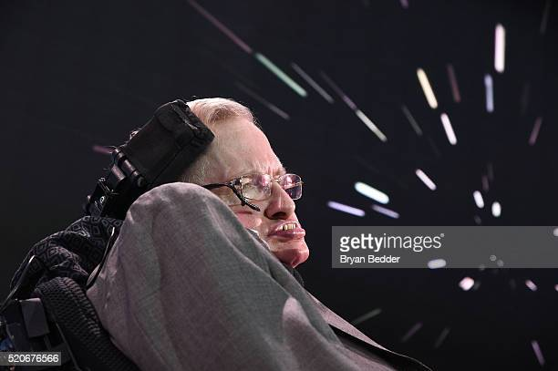 Stephen Hawking CH CBE FRS Dennis Stanton Avery and Sally Tsui WongAvery Director of Research University of Cambridge speaks on stage as he and Yuri...