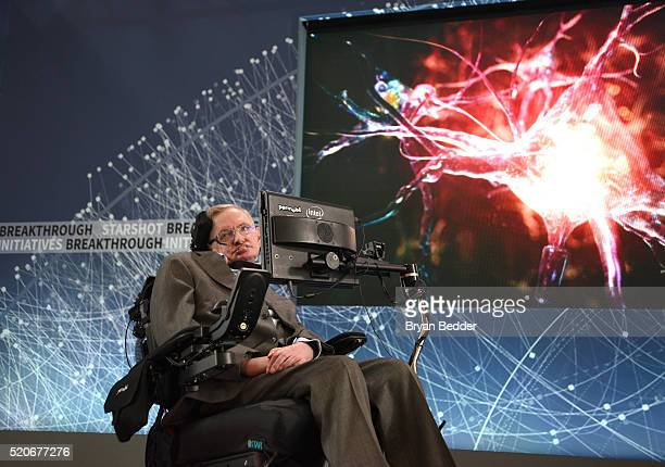 Stephen Hawking, CH, CBE, FRS, Dennis Stanton Avery and Sally Tsui Wong-Avery Director of Research, University of Cambridge as he and Yuri Milner...