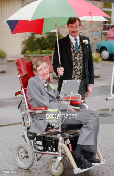 Stephen Hawking CH CBE FRS FRSA theoretical physicist Pictured on his wedding day with new wife Elaine Mason after their wedding at Cambridge...