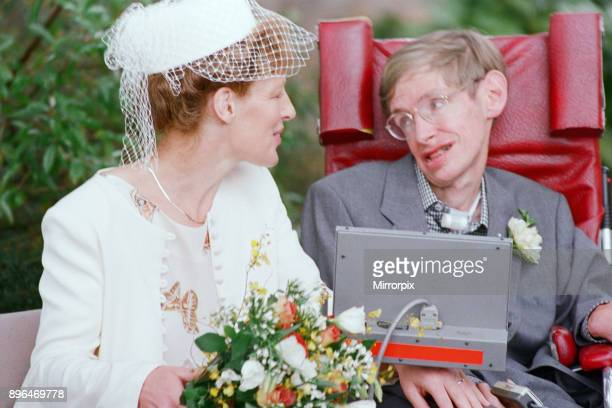 Stephen Hawking, CH, CBE, FRS, FRSA theoretical physicist. Pictured on his wedding day with new wife Elaine Mason after their wedding at Cambridge...