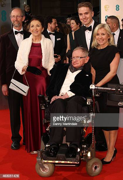 Stephen Hawking Jane Wilde Hawking and daughter Lucy Hawking attends the EE British Academy Film Awards at The Royal Opera House on February 8 2015...