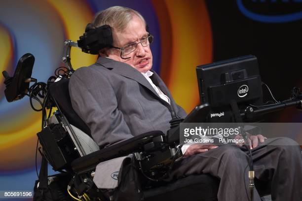 Stephen Hawking speaks about his life and work during a public symposium to mark his 75th birthday at Lady Mitchell Hall in Cambridge