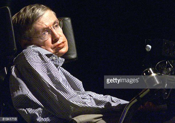 Stephen Hawking the worldrenowned physicist delivers his lecture in Beijing 18 August 2002 Hawking is in China to attend the upcoming 2002...