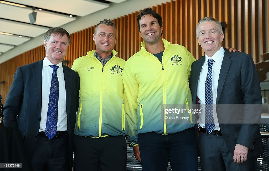Stephen Healy, Lleyton Hewitt, Pat Rafter and Craig Tiley pose during a Tennis Australia media opportunity at Melbourne Park at Melbourne Park on October 27, 2015 in Melbourne, Australia. Hewitt was today named as Australia's Davis Cup Captain.
