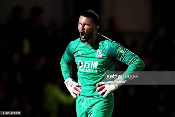 Stephen Henderson of Crystal Palace reacts after conceding a second goal during the PreSeason Friendly match between AFC Wimbledon and Crystal Palace...