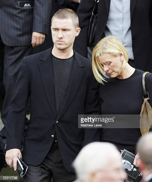 Stephen Hendry and wife leave the funeral of Paul Hunter at Leeds Parish Church on October 19 2006 in Leeds England The threetime Masters champion...