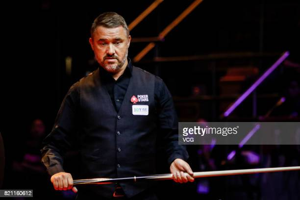 Stephen Hendry of Scotland reacts during the third exhibition game against Jimmy White of England on day four of 2017 Hong Kong Masters at Queen...