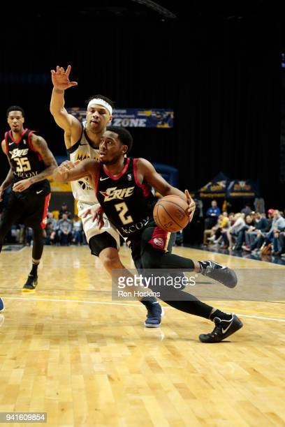 Stephen Hicks of the Fort Wayne Mad Ants battles John Gillin of the Erie Bayhawks in the 2018 Eastern Conference semifinals of the NBA G League on...