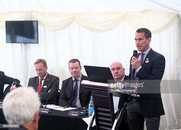 Stephen Higgins of Arena Racing Company talks during the AllWeather Championships Launch 201516 at Lingfield Park on October 29 2015 in Lingfield...