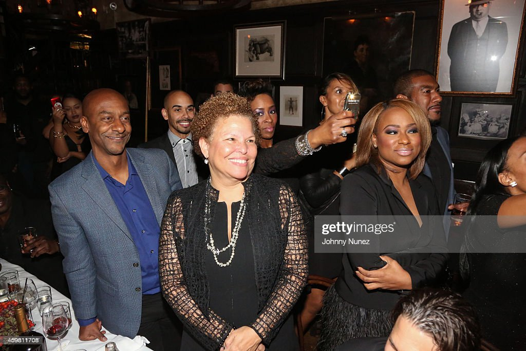 Stephen Hill (L) and Debra Lee (C) attend Trey Songz 30th Birthday Celebration at The Lion on December 1, 2014 in New York City.