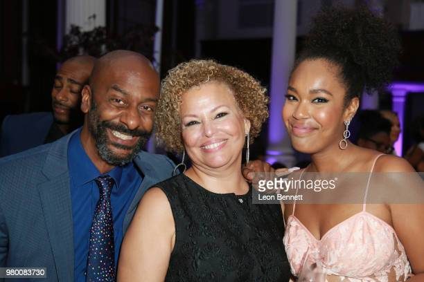 Stephen Hill Debra Lee and Ava Coleman attends the 2018 BET Awards Debra Lee PreBET Awards Dinner at Vibiana on June 20 2018 in Los Angeles California