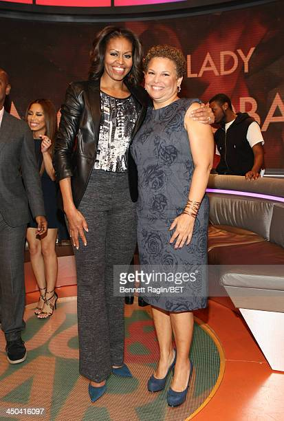 Stephen Hill of BET First Lady Michelle Obama and BET CEO Debra Lee pose for a picture during 106 Park at BET Studios on November 18 2013 in New York...