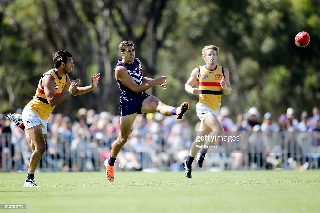 Stephen Hill of the Dockers kicks the ball during the 2016 AFL NAB Challenge match between the Fremantle Dockers and the Adelaide Crows at Sounness Park on February 28, 2016 in Perth, Australia.