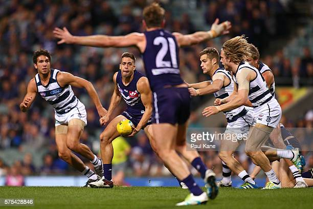 Stephen Hill of the Dockers looks to handball during the round 17 AFL match between the Fremantle Dockers and the Geelong Cats at Domain Stadium on...