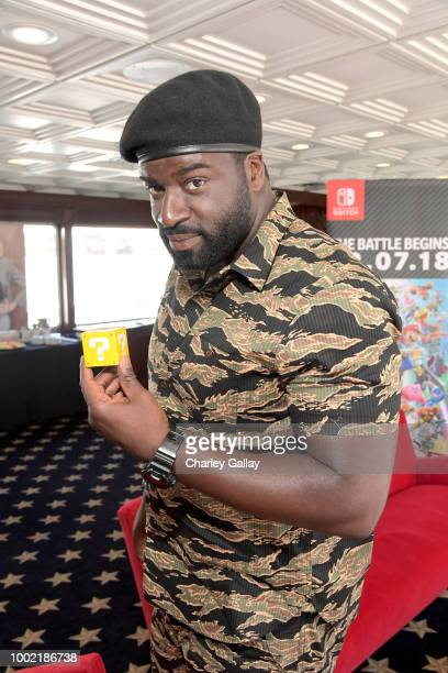 "Stephen Hill stops by Nintendo at the Variety Studio to check out the Nintendo Switch with his ""Magnum PI"" cast mates at ComicCon 2018on July 19 2018..."