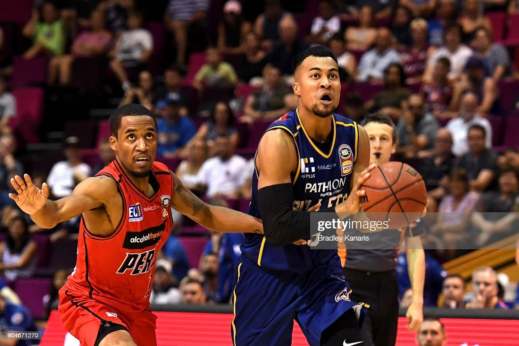 Stephen Holt of the Bullets breaks away from the defence during the round 14 NBL match between the Brisbane Bullets and the Perth Wildcats at Brisbane Convention & Exhibition Centre on January 14, 2018 in Brisbane, Australia.