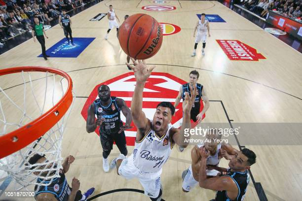 Stephen Holt of the Bullets puts up a shot during the round one NBL match between the New Zealand Breakers and the Brisbane Bullets at Spark Arena on...